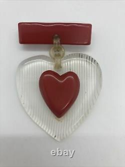 Vintage Cherry Red Heart Sweetheart Bakelite Pin Brooch 1930s 1940s