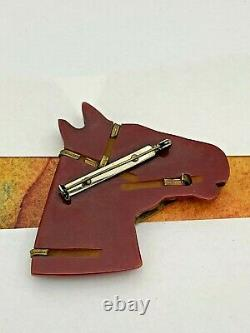Vintage Circa 1950s BAKELITE CARVED HORSE Head Large Brooch Pin