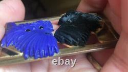 Vintage Coro Bakelite Scottie Dogs Pin Brooch, Scotty, Blue & Black, Terriers