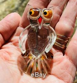 Vintage Crystal Clear Lucite Owl Flower Pin Brooch Bakelite Era Extremely RARE