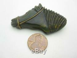 Vintage Dark Green Bakelite Horse Head Pin With Metal Bridle Glass Eye