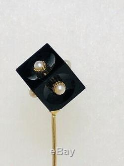 Vintage Deco 14k Gold Stick Pin with Bakelite or Lucite Cube & 6 Seed Pearls