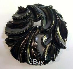 Vintage Deep Carved Black Bakelite Leafy Pin Brooch