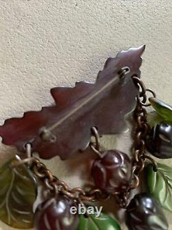 Vintage Dimensional Cherry Bakelite Multi Strawberries Green Leaves Dangle Pin