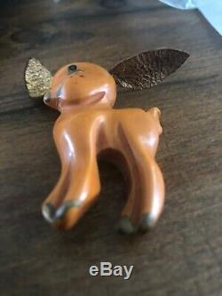 Vintage Dog Bakelite Brooch Pin Leather Ears