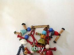 Vintage Early Miriam Haskell dangle glass bakelite figurines booch pin