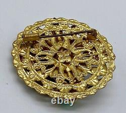 Vintage Egyptian Revival brass glass 1930's pin brooch probably Neiger Brother