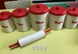 Vintage Eon Canisters Red & Cream Bakelite Set Of 5 + Rolling Pin