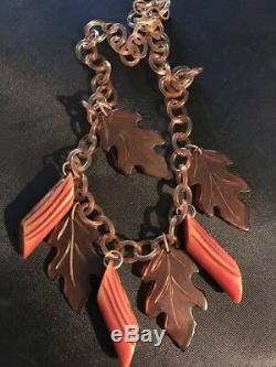 Vintage FALL BAKELITE necklace leaves and logs with celluloid chain. Not pin