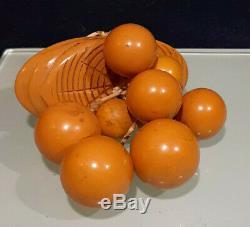 Vintage Fantastic Bakelite Orange Berries and Wood Pin
