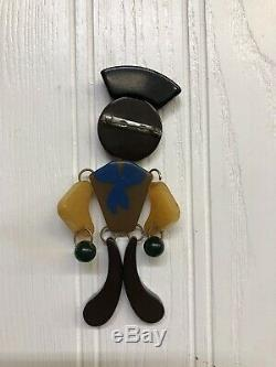 Vintage Figural Articulated Bakelite Sailor Soldier Pin Brooch
