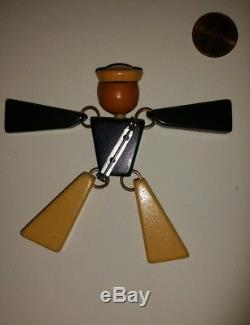 Vintage Figural Bakelite Jointed Articulated Navy Soldier Figure Brooch Pin