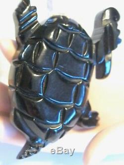 Vintage Figural Lucite & Bakelite Fancy Dancing Turtle Pin Brooch Carved Painted
