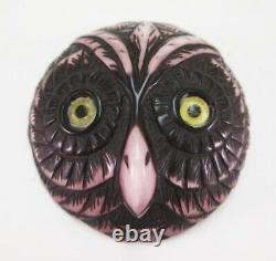 Vintage French Bakelite Galalith Owl Pin Brooch Figural Deeply Carved Glass Eyes