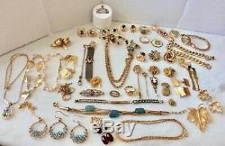 Vintage GF LOT Earrings Jade Bakelite Lapel Brooch Stick Pins Bracelets Chains