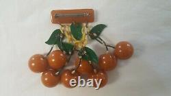 Vintage Golden Butterscotch Bakelite Cherries Pin Simichrome Tested