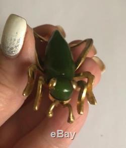 Vintage Green Bakelite + Gold Tone Metal Grasshopper Brooch Pin 1940s Jewelry