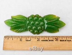 Vintage Green Bakelite Pin Flower Plant Motif