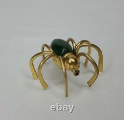 Vintage Green Bakelite Spider Brooch Figural Brass Gold Tone Pin 40s