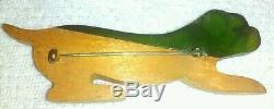Vintage Green Bakelite & Wood Carved Bulldog Dog Pin Brooch 3.25 Long