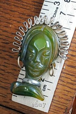 Vintage Green Carved Bakelite African Exotic Princess Woman Brooch Pin