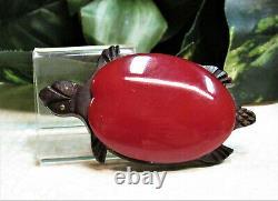 Vintage HUGE Red Bakelite Wood Turtle Pin Brooch TOO CUTE