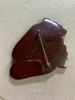 Vintage Hand Carved Translucent Feet Barefoot Cherry Bakelite Pin Brooch