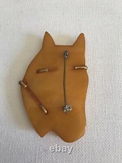 Vintage Horse Bakelite Brooch Pin Butterscotch Mid Century Ranch Cowgirl Rodeo