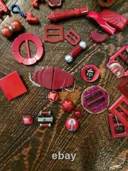 Vintage Huge Lot Bakelite Celluloid jewelry Pins Brooches Buckles Buttons Clips