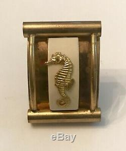 Vintage Jean Painleve Brass/Bakelite Seahorse Dress Clips and Pin, Circa 1930s