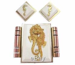 Vintage Jean Painleve Seahorse Earrings Brooch Clip Pin French Bakelite Galalith