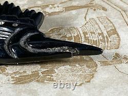 Vintage LRG Black Bakelite Jeweled Swordfish Fish brooch pin jewelry