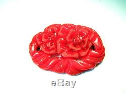 Vintage Large 3+ Carved Art Deco Bright Red Bakelite Floral Cut Out Brooch Pin