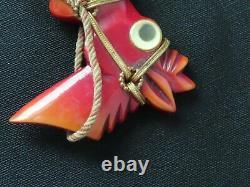 Vintage Large Carved Bakelite Googly Eye Horse Donkey Head Brooch Pin Book Piece