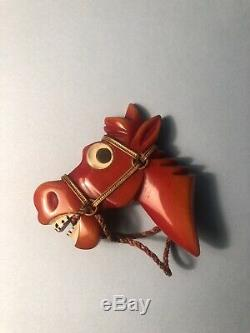 Vintage Large Carved Bakelite Googly Eyed Horse Donkey Head Brooch Pin