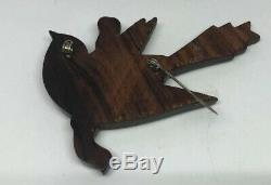 Vintage Large Carved Bakelite/ Wood Bird Pin Brooch And Matching Clip Earrings