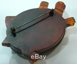 Vintage Large Carved Wood & BAKELITE Brooch Pin TURTLE 3 by 2