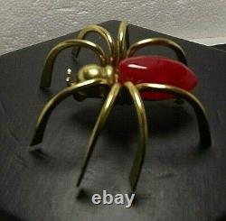 Vintage Large Cherry Red Bakelite Gold Tone Spider Pin Retro Bug