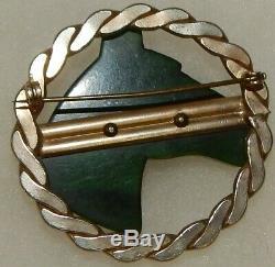 Vintage Large Green Marbled Bakelite Carved Horse Head Circle Pin Brooch
