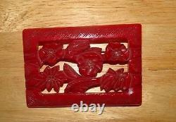 Vintage Large Red Bakelite Ornate Flower Floral Carved Brooch Pin