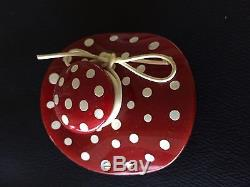 Vintage Large Red Bakelite Pin Polka Dots Hat Tests Positive With Simichrome