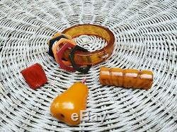Vintage Lot 4 Bakelite Jewelry Estate Find Bracelet Pins Carved Ring Nice