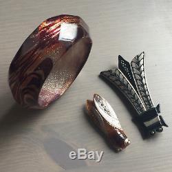 Vintage Lot Art Deco Bakelite / Lucite Insect Cicada Beetle Brooch Pin Bracelet