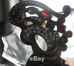Vintage Lucite Sterling Jelly Belly Face Figural Pin Brooch Jewels Masterpiece
