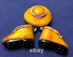 Vintage MARBLED Butterscotch BAKELITE Brooch Pin HAT with Dangling BOOTS SHOES
