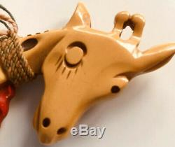 Vintage MARTHA SLEEPER Bakelite Flirty Winking Carved Giraffe Brooch Pin Rare
