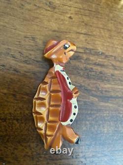 Vintage MARTHA SLEEPER Carved Painted Bakelite Whimsical Turtle Brooch Pin