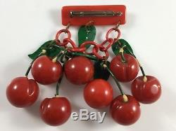 Vintage Marbled Red Hand Carved Large Cherry Cherries Dangling Pin Brooch