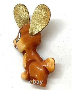 Vintage Martha Sleeper Over Dyed Bakelite Rabbit Pin w Gold Leather Ears