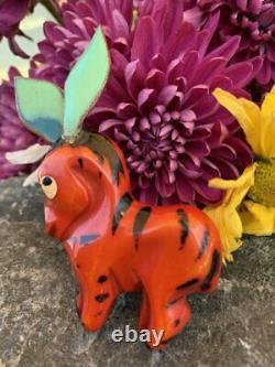 Vintage Martha Sleeper Painted Carved Bakelite Donkey Figural Brooch / Pin